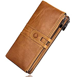 ROULENS Wallet for Women Genuine Leather Card Holder Phone Checkbook Organizer Zipper Coin Purse 24