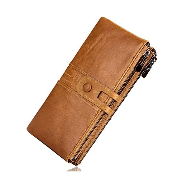 ROULENS Wallet for Women Genuine Leather Card Holder Phone Checkbook Organizer Zipper Coin Purse 1