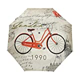 Bicicleta Vieja del Reino Unido Paraguas Plegable Hombre Automático Abrir y Cerrar Antiviento Protección UV Ligero Compacto Paraguas para Viajes Playa Mujeres Niños Niñas