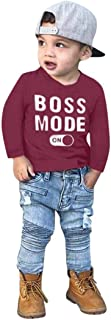 MODNTOGA Baby Boys Clothes Long Sleeve Tops T-Shirts Kid Tee Baby Cotton Toddler Top Dress Shirts Clothes