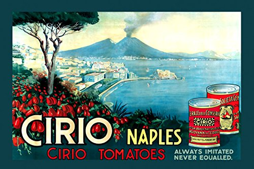 "16"" X 20"" Cirio Naples Can of Tomatoes Italy Italia Italian Food Vintage Poster Repro Standard Image Size for Framing. We Have Other Sizes Available!"