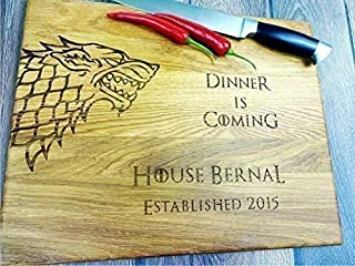 GAME of THRONES with personalization. Dinner is coming. Winter is coming. Custom Laser engraved cutting board. Custom personalized cutting board. Wedding gift. Housewarming gift. Stark