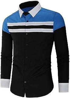 HEFASDM Men's Relaxed Botton Front Long Sleeve Longshirt Woven Shirt