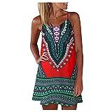 TMOYJPX Vestidos Verano Mujer Cortos Talla Grande Casual Bohemia Estilo Nacional 3D, Vestidos de Fiesta Cortos Elegantes Baratos Playa 2021 (Rojo, L, l)