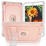 ZoneFoker Case for iPad 8th/7th Generation Case, for iPad 10.2 inch Case 2020/2019, Clear Glitter Dual-Layer Heavy Duty Shockproof iPad Case with Stand Tablet Cover for Girl/Women-Clear