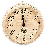 Tomotato Horloge de Sauna en Bois Horloge de Salle de Sauna Simple Minuterie de Sauna Accessoire Horloge Murale Décorative Ronde Également pour Une Horloge Extérieure