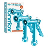 Aqua Joe AJPGN-2PK Full Metal Pistol Grip Hose Nozzle, 2-Pack, Blue