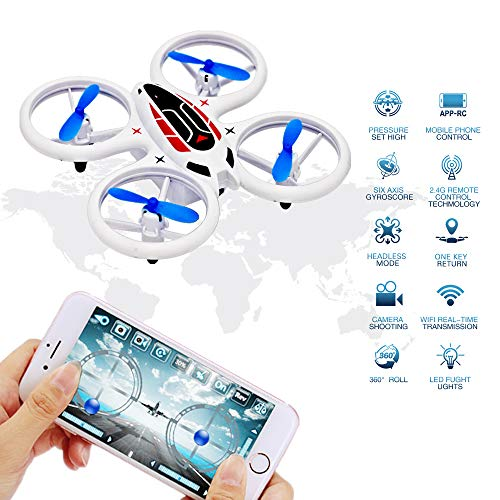 Mini Drone with 0.3MP HD WiFi FPV Camera for Kids and Beginners, UFO Flying Remote Control Toys,RC Nano Quadcopter with Altitude Hold,Headless Mode, 3D Flips, LED UAV Lights, Easy Fly for Training