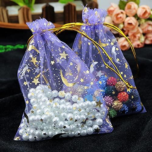 LINPO 50 unids/Lote 7x9cm 9x12cm Bolsas de joyería de Organza con cordón Azul Marino Bolsas de Estrella y Luna Regalos de Dulces de Boda Bolsas de exhibición de Embalaje de joyería