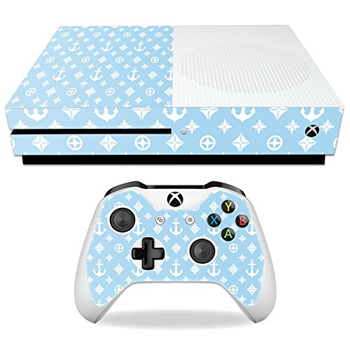 MightySkins Skin Compatible with Microsoft Xbox One S - Baby Blue Designer | Protective, Durable, and Unique Vinyl Decal wrap Cover | Easy to Apply, Remove, and Change Styles | Made in The USA