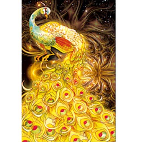 UNER Peinture De Diamant de Paon Doré Tableux Strass en Cristal de Complets DIY 5D Kit Point de Croix Mosaïque Décoration Moderne de Autocollant Mural Cadeau d'anniversaire