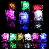 JTWEB 12pcs Cubito de Hielo Luces LED Submarinas Intermitentes Luz del Sensor de Líquido Accesorios de decoración para cócteles Reutilizable Decorativo para Fiesta, Boda, Club y Bar