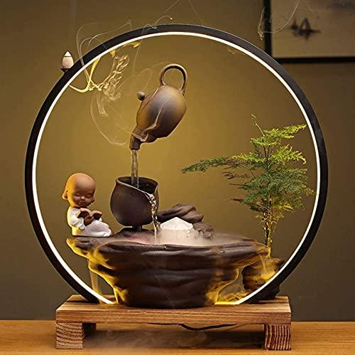 DYXT Fuentes de Agua para Interiores, Cascadas Zen Tablero, Característica de Agua con Anillo de luz, Nebulizador de Incienso de reflujo, Fuente Decorativa de sobremesa de meditación Zen