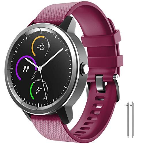 NotoCity Cinturino per Garmin Vivoactive 3   Forerunner 245 Cinturino di Ricambio in Silicone Morbido 20mm per Samsung Gear Sport Galaxy Watch 42mm(S,Fucsia)