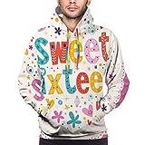 Men's Hoodies Sweatershirt,Nostalgic Lace Polka Dots Background with Joy Anniversary Design,M