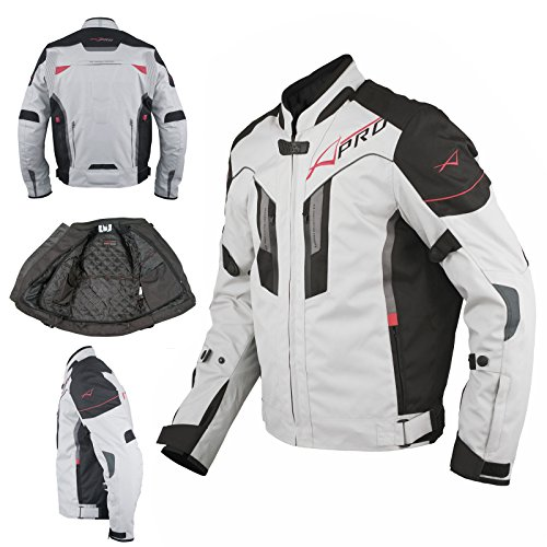 A-Pro Giacca Moto Tessuto Sport Protezioni CE Riflettente Ventilata Grigio XL