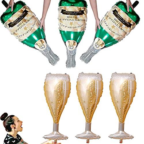 Globo de aluminio Botella de Champagne Globo de Helio 6 Piezas Globo de Boda Deco Globos de Fiesta Cumpleaños Autosellado Globo de Aluminio Globos de Vino de Champagne Globo de aluminio inflado