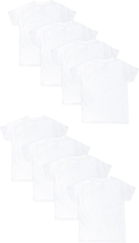 Hanes Boys EcoSmart Crewneck Undershirt 8-Pack, S, White