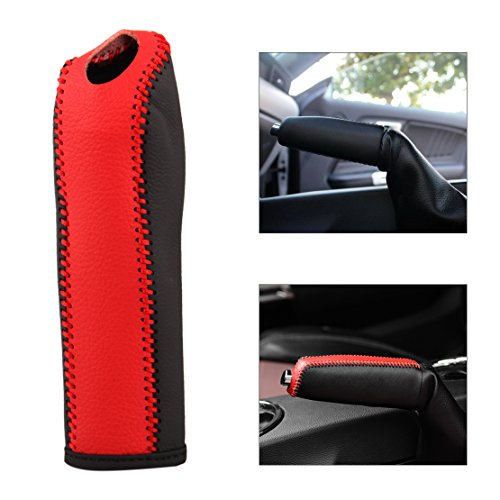 Sports Parking Hand Brake Boot Leather Cover Red For HYUNDAI 2014-2016 Elantra