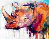 YEESAM ART Papelería colorido rinoceronte, pintura por números, 40,6 x 50,8 cm, kit de pintura DIY para decoración de la pared del hogar (Rhino, enmarcado)