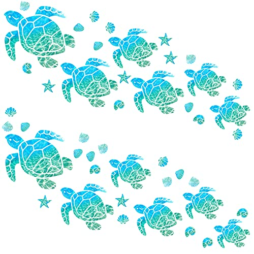 46 Pieces Sea Turtle Wall Decals Glowing Wall Decals Starfish Shell Wall Ornaments Waterproof Ocean Wall Sticker Decoration for Home Office Living Room Wall Bathroom Toilet (Normal)