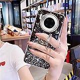 Uposao Compatibile con Huawei Mate 30 Pro Custodia Glitter Ragazza Donna Diamante Lucido Strass Bling Cover Protettiva Cover Trasparente in Silicone Morbida in TPU con Supporto ad Anello,Nero