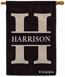 BAGEYOU Personalized Monogram Initial Letter H and Your Last Name House Flag for Outside Black Background 28x40 Inch Printed Double Sided
