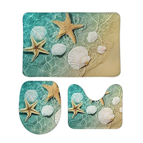 My Daily 3 Piece Bathroom Rug Set Seashells Starfish Gradient Maritime Beach Toilet Contour Mat Lid Cover Non-Slip Bath Mat