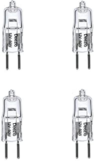 Deezio 12 Volt 50 Watts GY6.35 T4 Halogen Light Bulb with Glass 2-Pin, 300/900 Lumens, 3000K Bulb Color Temp, 4-Pack
