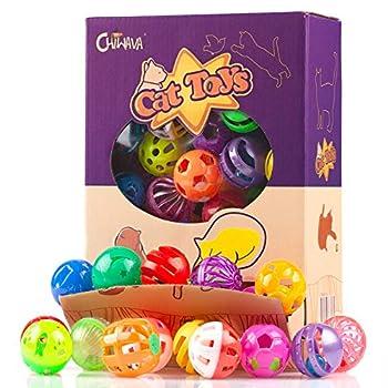 Chiwava 48PCS 4cm-4.5cm chat en plastique jingle boules chat jouet avec cloche chaton chasse bondir jouer 8 types / couleur assortie
