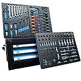 DeTec. Werkzeugkiste 2033 Carbon mit Werkzeug | Werkzeugkasten in blau | 3 Schubladen inkl. 129 tlg. Werkzeugsortiment