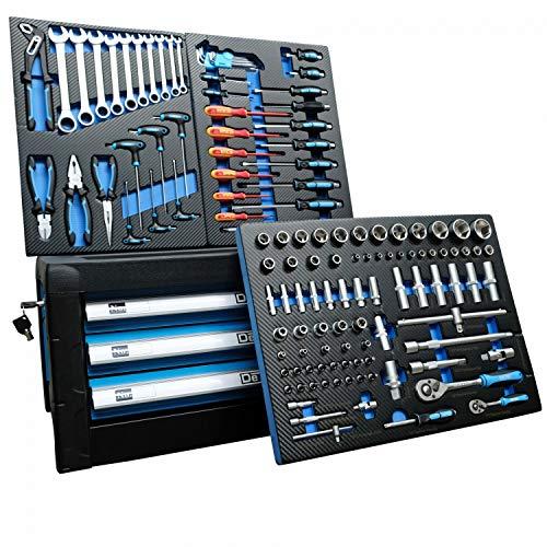 DeTec. Werkzeugkiste 2033 Carbon mit Werkzeug   Werkzeugkasten in blau   3 Schubladen inkl. 129 tlg. Werkzeugsortiment
