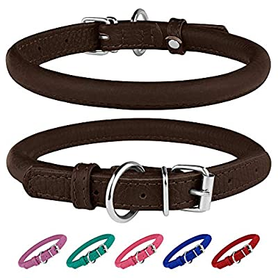 BRONZEDOG Rolled Leather Dog Collar Round Rope Pet Collars for Small Medium Large Dogs Puppy Cat Red Pink Blue Teal Brown Rose Green (Neck Size 19'' - 21'', Brown)