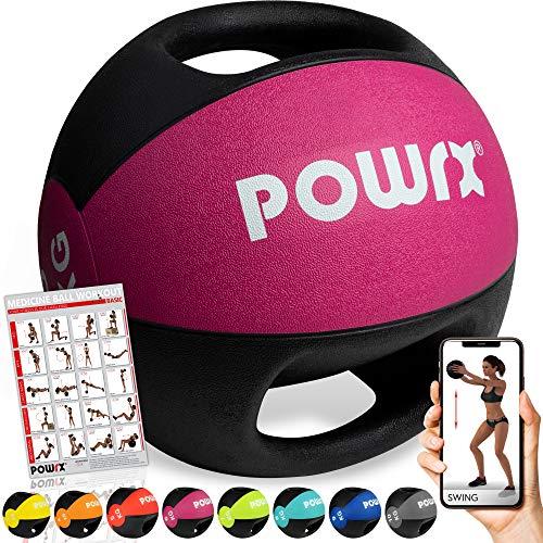 POWRX Balón Medicinal Asas 6 kg - Ideal Ejercicios