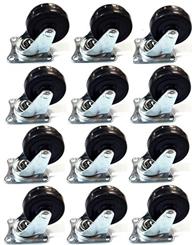 MegaDeal 12 Pack 2' Swivel Caster Wheels Rubber Base with Top Plate & Bearing Heavy Duty