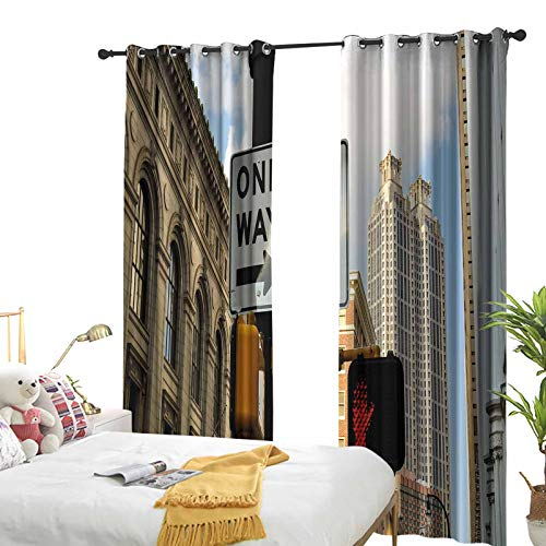 City Grommet Blackout Curtains One Way Sign in Front of Atlanta Skyline Downtown Apartments Urban View Grommet Blackout Draperies for Patio 72 x 72 inch