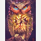 5D DIY Full Drill Diamond Painting Kits Owl Round Crystal Rhinestone Embroidery Cross Stitch Picture Supplies Art Craft for Home Wall Decor for Adults Kids Beginner, 11.8 x 15.7 inches, Frameless