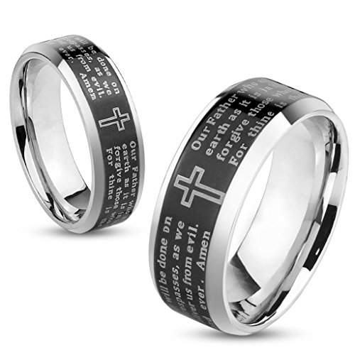 Artisan Owl Lord's Prayer Black Beveled Edge IP Stainless Steel Ring with Cross (7)