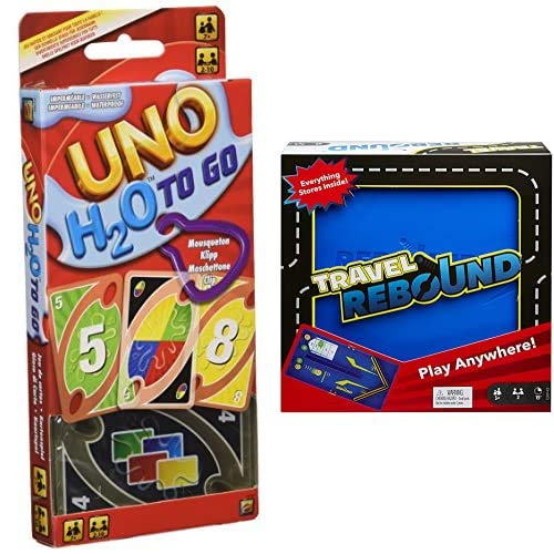 Mattel Games UNO H20 To Go, Juego de Cartas + Rebound Juego de Mesa versión Viaje