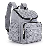Diaper Bag Backpack With Baby Stroller Straps By HYBLOM, Stylish Travel And Organizer For Women & Men, 12 Pockets, Grey