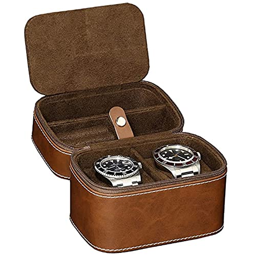 2 Ranuras Reloj Caja de Cuero, Caja para Guardar Relojes, Caja para Relojes, Ver Organizador de Vitrinas de Almacenamiento para Almacenamiento y ExhibicióN (Brown)