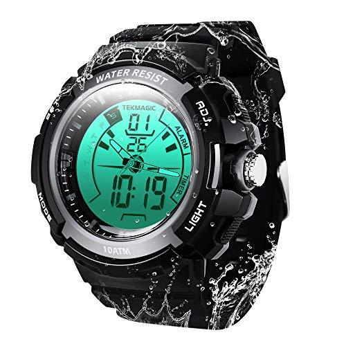 Wasserdicht bis 100 m Sport-Taucheruhr Unterwasser-Stoppuhr mit Alarmfunktion, unterstützt Dual-Zeitzonen-Anzeige, 12/24-Stunden-Format, digitale und analoge Uhren.