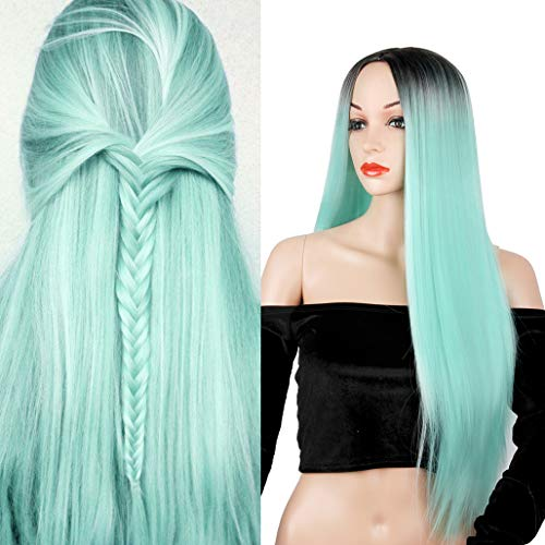 Ombre Mint Green Long Straight Wig Colorful Middle Part Heat Resistant Synthetic Fiber Full Wigs for Woman Wigs Party Cosplay Daily Wig with Dark Roots Natural Looking Wig(Mint Green)
