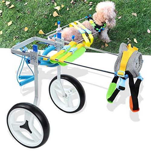 Sevenyou Pet Rollstuhl, Aluminiumlegierung Pet Rollstuhl Verstellbarer Rehabilitationstrainer für behinderte Hunde mit Bedienungsanleitung(M)