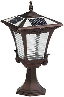 ZHCWT Waterproof Retro LED Solar Column Light European Vintage Outdoor Garden Pillar Post Light Rainproof Metal High Pole ...