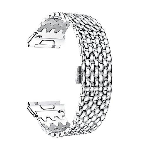 MYQyiyi myqyiyi Edelstahl-Armband Smartwatch für Fitbit Ionic