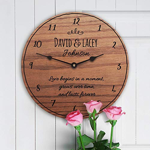 12 Inch Wood Clock, 5th with Poem Gift for 5th Anniversary with Poem 5 Year Poem by Year Forever Poem, Clock Only, Wall Clock