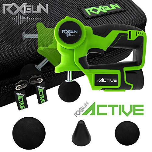 RxGun Active 3 Tips Percussion Professional Massager Powerful Cordless Rechargeable Handheld Percussive Deep Tissue Body Neuromuscular Muscle Pounding Vibration Therapy Massage Gun Tool
