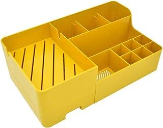 B/H Boîtes de Rangement Pliable en Tissu,Boîte de Rangement Multicouche Boîte de Finition Anti-poussière de Bureau Jaune