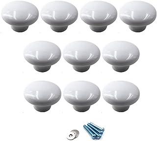 Blanco Perillas redondas de cerámica Tirador de la manija de la perilla del gabinete para los cajones del tocador de la habitación infantil (paquete de 10 tornillos incluidos)